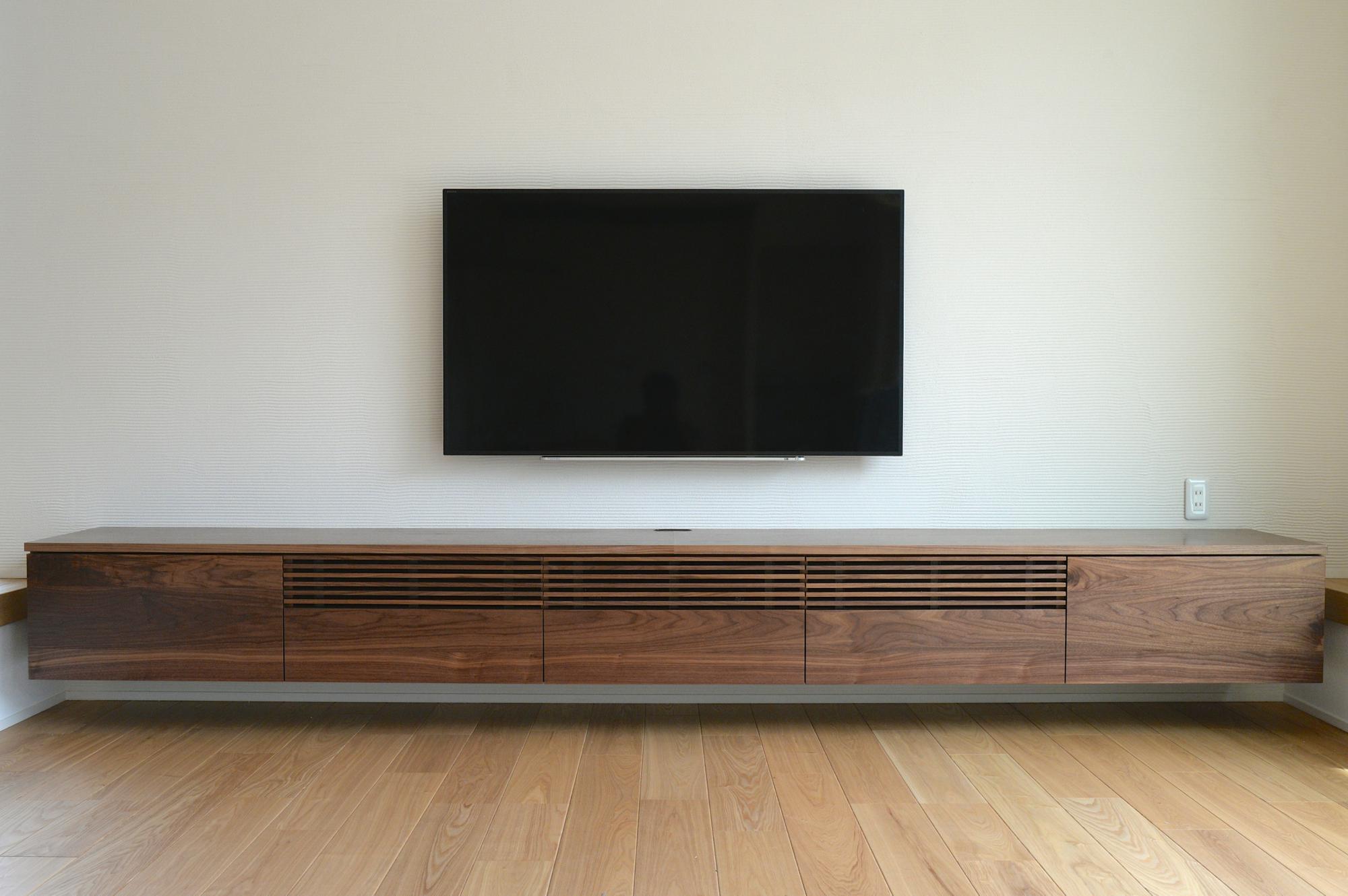 ウォールナット テレビボード ルーバー オーダー 格子