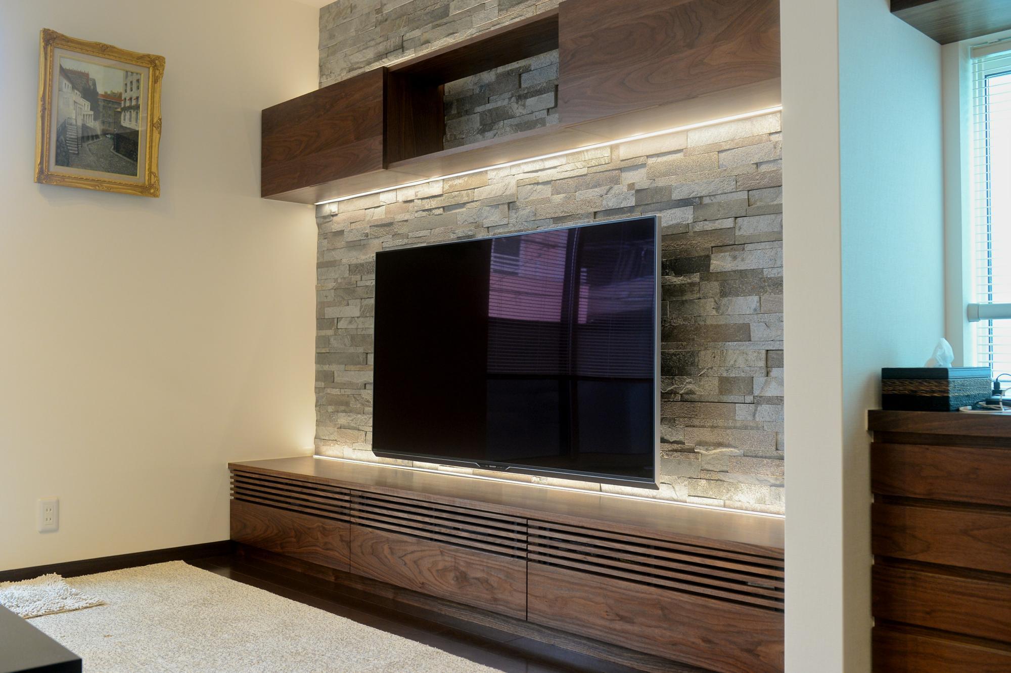 壁面収納 テレビボード 間接照明 オーダー