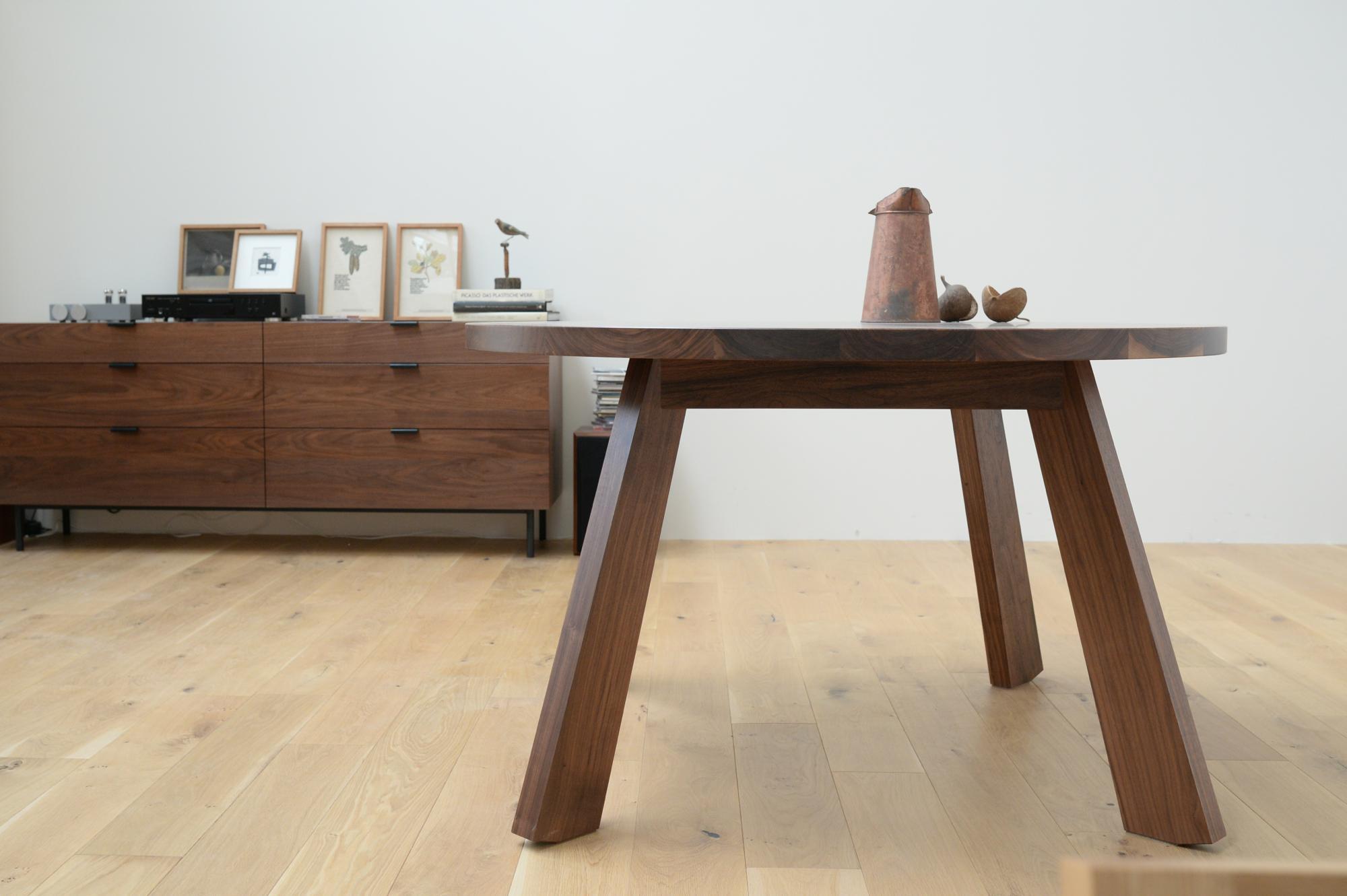 丸テーブル ウォールナット 無垢
