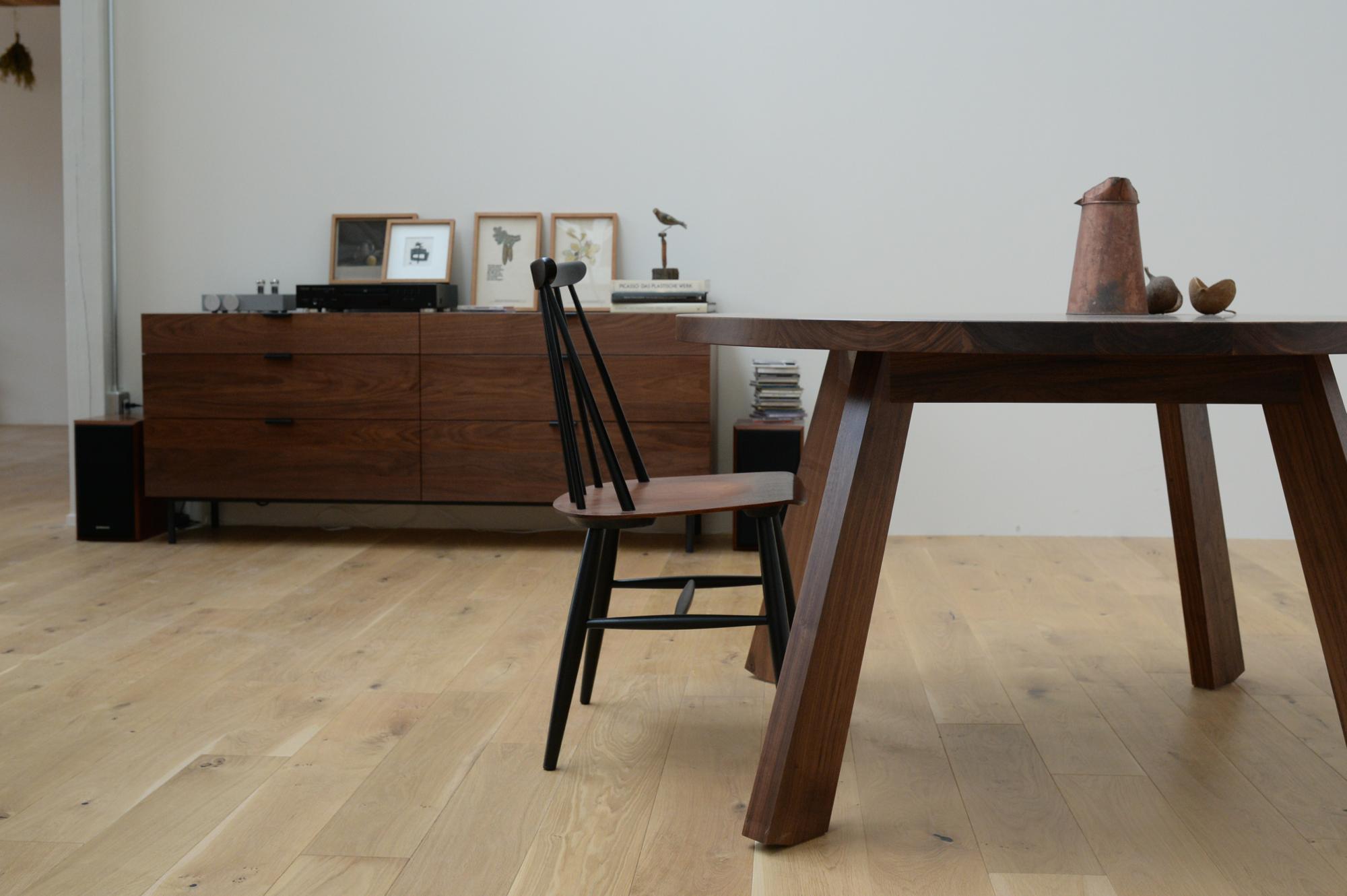 ダイニングテーブル ラウンド 丸テーブル ウォールナット 無垢材