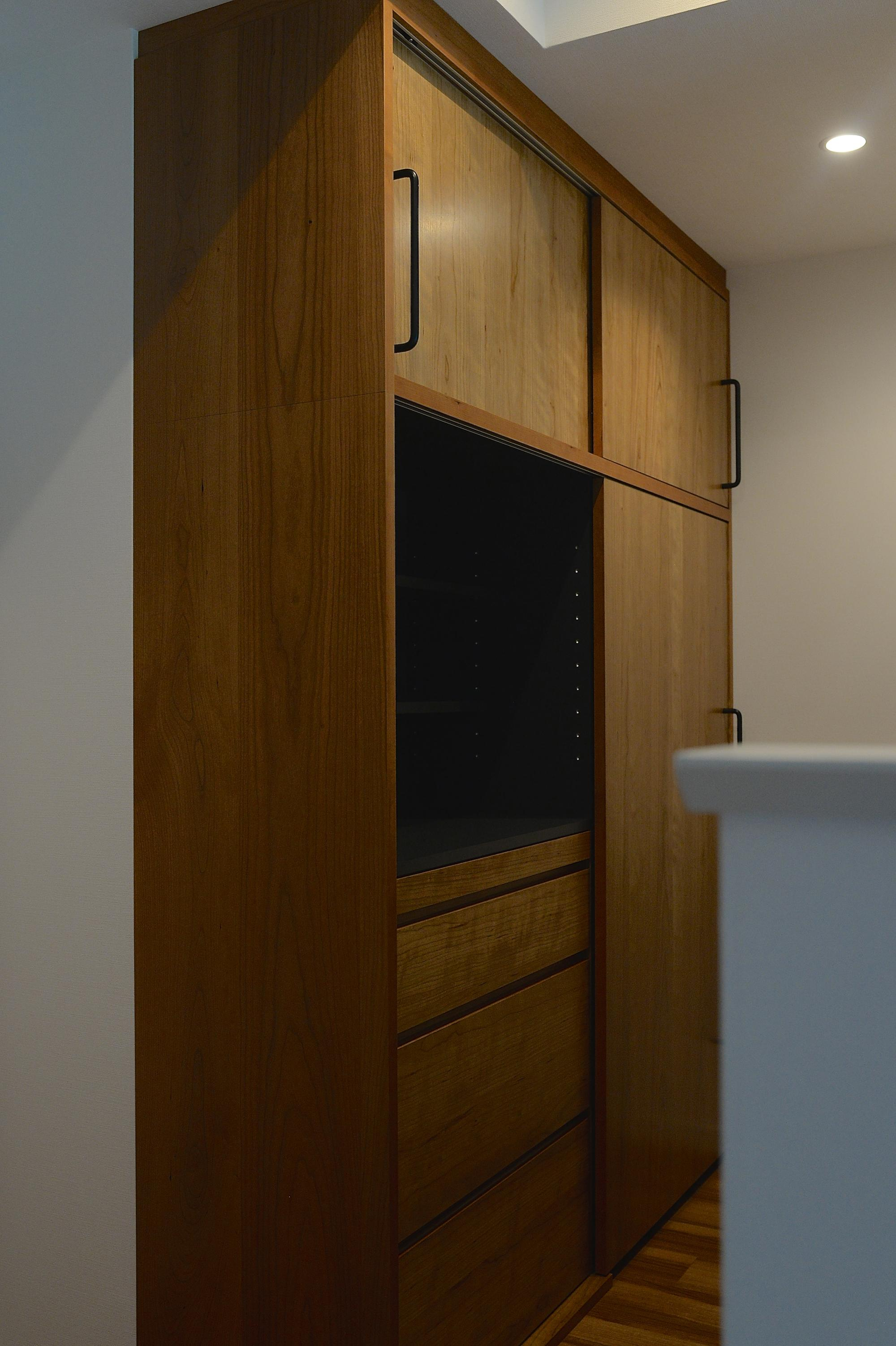 食器棚 引き戸 チェリー
