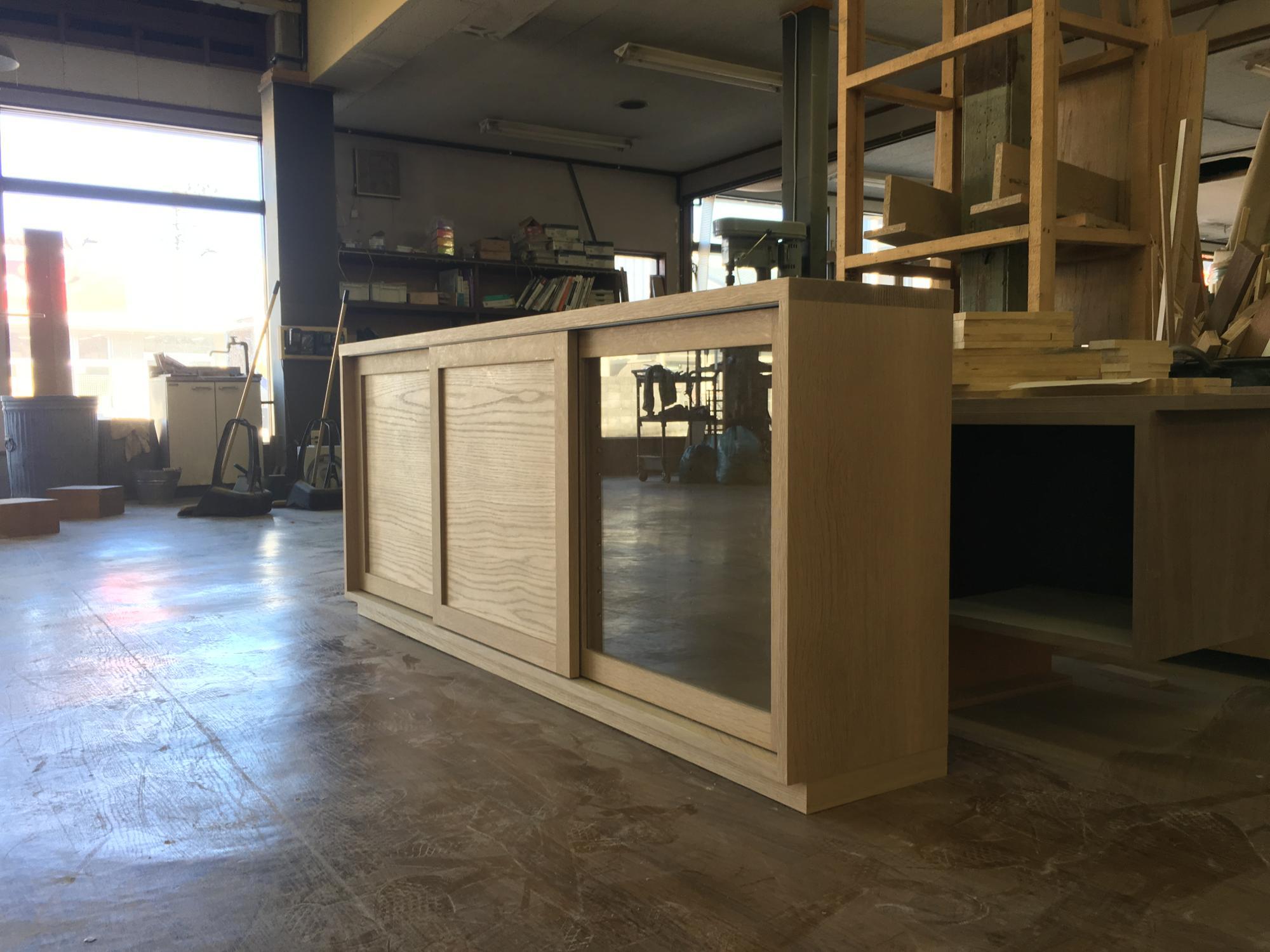 無垢材 カウンター下収納 オーダー家具